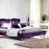 K156 Canton European home bedroom furniture modern leather PU Fabric upholstered bed