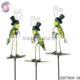 metal garden decoration gentleman grasshopper stakes                                                                                                         Supplier's Choice