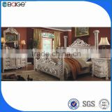 modern bedroom set furniture wood double bed from factory