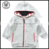 Winter Long Sleeve 100% Cotton Cute Gray Mini Teeth / Skull and Crossbones Logo Zip Up Fleece Hoodie for Kids