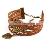 Handmade Gold Jewelry For Women Leather Heart Charms Bracelets