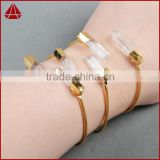 Exclusive! Natural double point quartz clear quartz bangle in 18k real gold plated