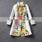 Wholesale 2014 name branded fashion women luxury turn-down collar jacquard cotton printed coat H27231
