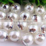 Fashion Wholesale Chunky Pearl Print Cartoon Fruit Beads Acrylic/Plastic Pearl Beads Loose Round 20mm Pearl Beads For Kids