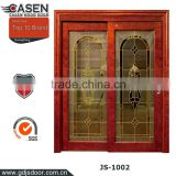 China new modern double sliding wood doors with art glass wood door design window for exterior decoration