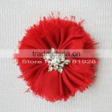 "Shoes flat frayed flower in 15 colors -3"" Star Shaped Rhinestone Centers Fabric Chiffon Flower -Wedding decorative flowers"