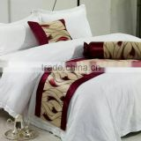lastest design bed runners and square cushion covers and round body cushions for hotel room decoration