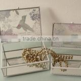 glass box with bird printing