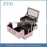 Pink aluminium personalized portable makeup vanity case w/mirror trays, ZYD-MC960