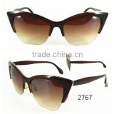 2016 Plastic Half Frame Single Color Cat Eyes Sunglass With Copper Flim