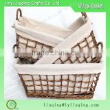 2016 SET of 3 rectangular natural Wicker baguette basket /Washable bread basket with handle & fabric liner