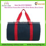 Wholesale Barrel Gym Bag In Canvas Navy & Red Strap