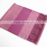 Soft Color Stripe Wool Scarf with Fringe