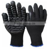 Black Softtextile Rubber Foam Palm Coated Anti-vibration Working Gloves with Cotton Liner