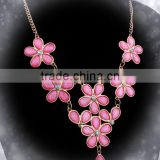 Fashion Lovely Pink Flower Crystal Necklace,Chain necklace