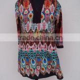 Ladies wear polyester satin fabric printed beautiful casual tunic blouse & kurtis summer wear