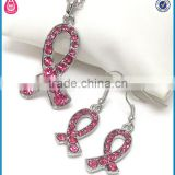 rhinestone pink breast cancer awareness ribbon necklace earring set