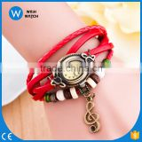VW039 Vintage quartz women Wholesale Wrap Note Pendant Synthetic Leather Bracelet Wrist Watch