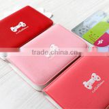 Lovely Business Credit Card Holder wallet PU Leather Strap Buckle Bank Card case pvc ID Card passport Holder Pocket purse Bag