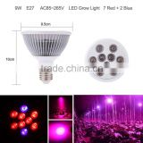 9*1W 7blue 2red E27 LED Grow plant Light greenhouse lighting