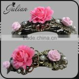 Handmade Rose flower French Barrette Antique Bronze Hair Clip hair accessories FHBAC0001