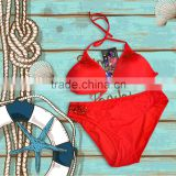Balneaire red color sexy crystal accessory bikini