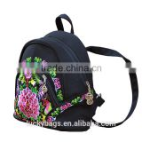 High quality luckybags backpack with long belt embroidery canvas backpack vintage backpack canvas