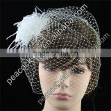 Bridal Birdcage Netting Veil with Feathers Fascinator Flower CT1565