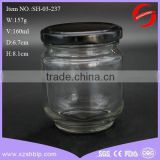 160ml clear glass bee honey jar with cap for storage