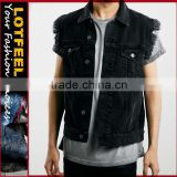 Cool Mens black Denim Jeans Jacket Men's Casual Jean Coat rock black denim jeans vest(LOTJ151)