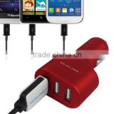 for iphone 6 6s,Samsung,LG,Blackberry use travel charger,3 port USB Quick Charge 2.0 car Charger,black/gold/red