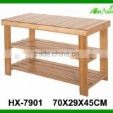 Wholesale Living Room Furniture 2 Tier Bamboo Shoe Rack with Seat
