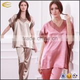 ladies fashion short sleeve silk sleepwear set Loose V-neck Geometrical Short Sleeve pajamas Set