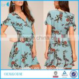 100% Rayon Material Hot Design Dress Women Light Blue Floral Print Wrap Dress