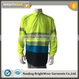 Wholesale contrast long sleeve hi vis safety 3M tape AS/NZS reflective fluorescent polo shirt