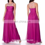 Wholesale New Design Long Evening Dress Women's Berry Silk Beaded Illusion Evening Wedding Gown