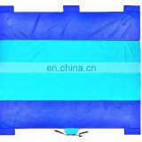 Summer Camping Outdoor Compact Sand Proof Picnic Beach Blanket With Stakes 210T Nylon Parachute Sandless Beach Mat