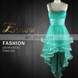 2016 Wholesale Sexy One-shoulder Beaded Gradient Ruffled Prom Dress for Girls