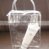 reliable performance transparent pvc cosmetic bag/stand up plastic travel bag/ pvc beach tote bag