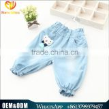 Wholesale Cartoon Cat Baby Girl Clothes 2016 New Summer Girl Light Color Jeans Lovely Little Girl Jeans