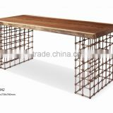 2016 Unique Modern Design Home Wooden With Stainless Steel Base Dining Table For House Use