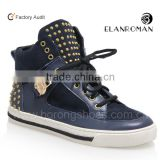 Men high-top sneaker made by leather trainer sneakers with rubber sole