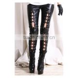 Woman Cluewear Punk Pants Black Corset Lace Up Faux Leather Leggings