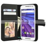 wholesale leather case flip cover for motorola moto g 3nd gen credit card wallet photo frame