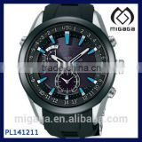 Fashion Men's 316L S.S. Steel Multi Functional Sport Watch Matte Iron Black Coating Solar Watch