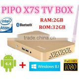 Pipo X7S Gold Win 8.1 And Android4.4 Dual OS Mini PC TV Box Intel Z3736F Quad Core 2GB RAM 32GB ROM