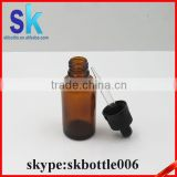 20ml round amber olive oil color glass bottle 20ml e liquid glass bottle with childproof dropper cap