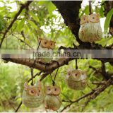 Wholesale decorative ceramic crafts ceramic owl ornaments with rope