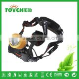 gold color focus zoom led headlamp 2000 lumen super bright head lamp miner light for night searching