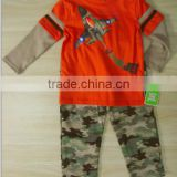 False two-piece sleeve boys 100%cotton long sleeve T-shirt with camo pant suit